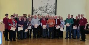 Auf der Jahreshauptversammlung des Musikvereins Michelbach wurden zahlreiche aktive und fördernde Mitglieder ausgezeichnet. Rainer Herkert erhielt die seltene Auszeichnung für 50-jährige aktive Tätigkeit im Musikverein