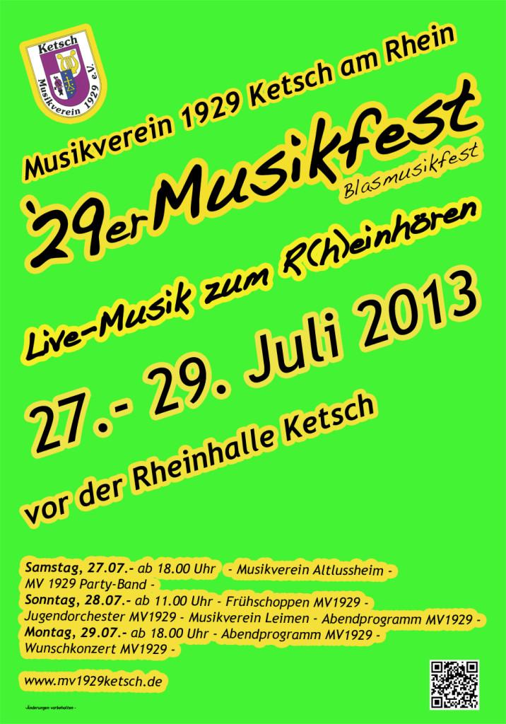 Auf geht`s zum 29er Musikfest des MV 1929 Ketsch. Drei Tage Stimmung, Spaß und viel Musik.